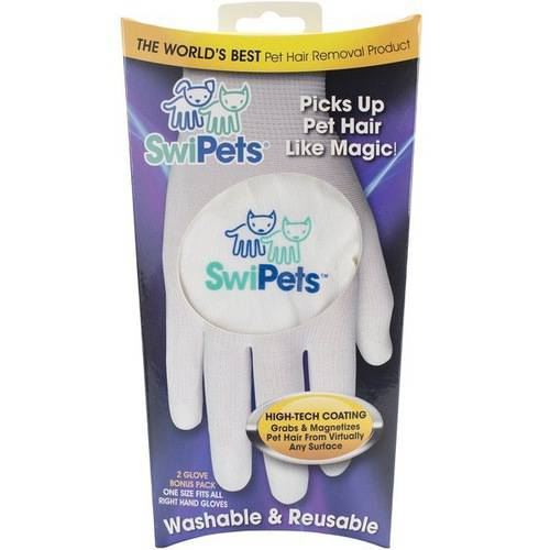 Swipets White Hair Cleaning Glove, 2pk