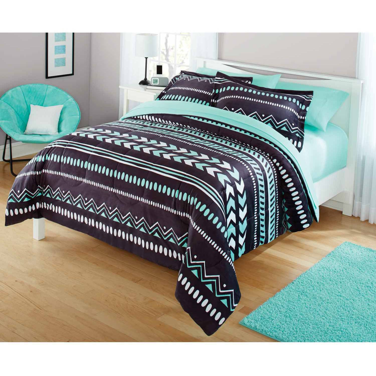Mainstays Preston Piece Comforter Set Walmartcom - Black and teal comforter sets