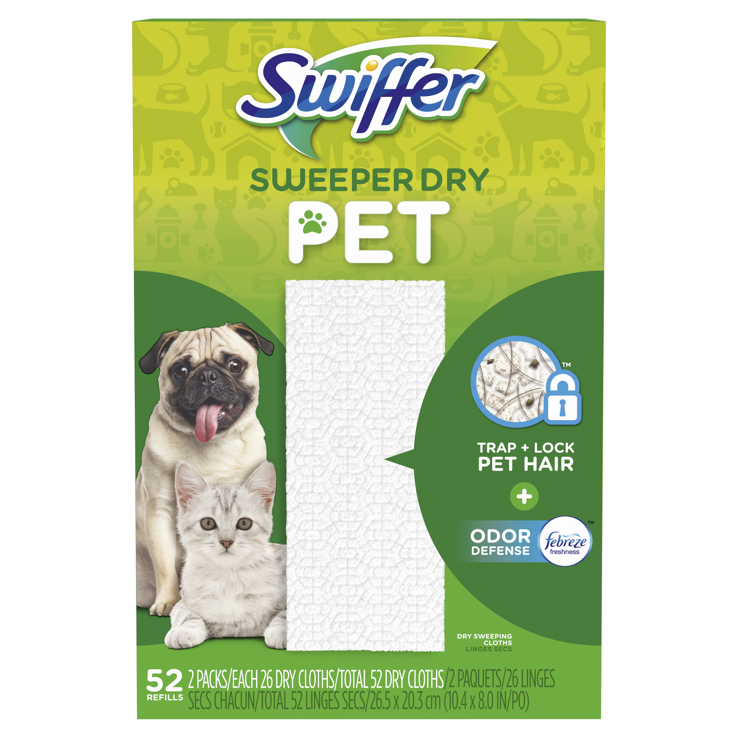 Swiffer Sweeper Pet Dry Sweeping Pad, Multi Surface Refills for Dusters Floor Mop, 52 Count
