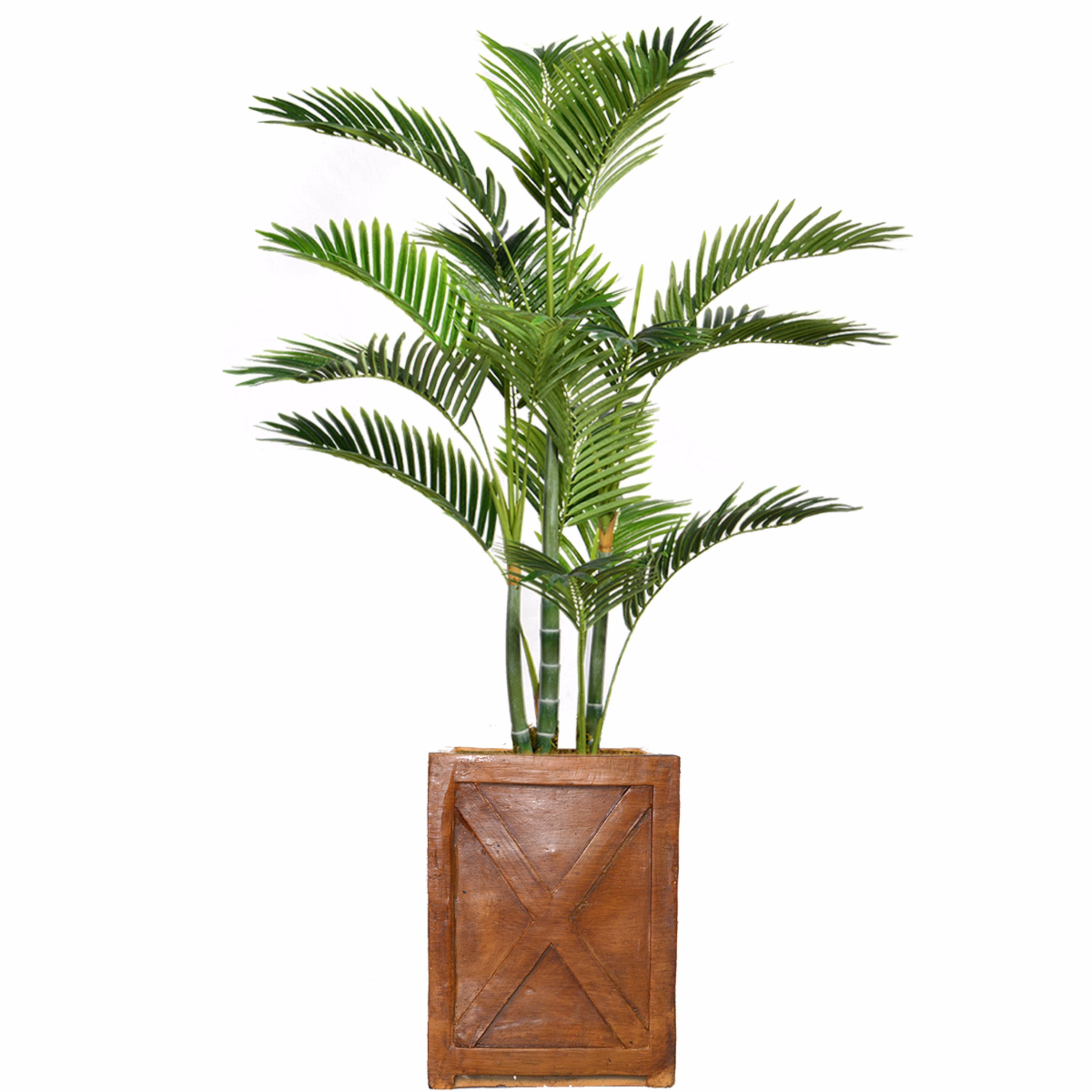 """57"""" Tall Palm Tree Artificial Indoor/ Outdoor Decorative Faux with Burlap Kit and Fiberstone Planter By Minx NY"""