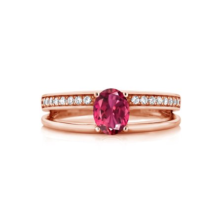 0.86 Ct Oval Pink Tourmaline 18K Rose Gold Plated Silver Ring