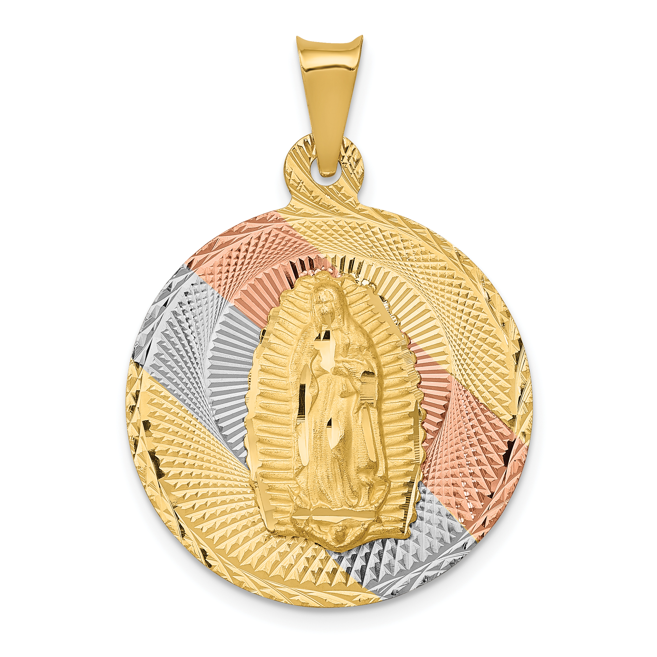 14k Yellow Gold Guadalupe Religious Pendant Charm
