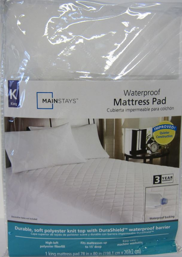 Mainstays Waterproof Fitted Polyester Mattress Pad (King) by Zhejiang Crafts & Textile Co., Ltd