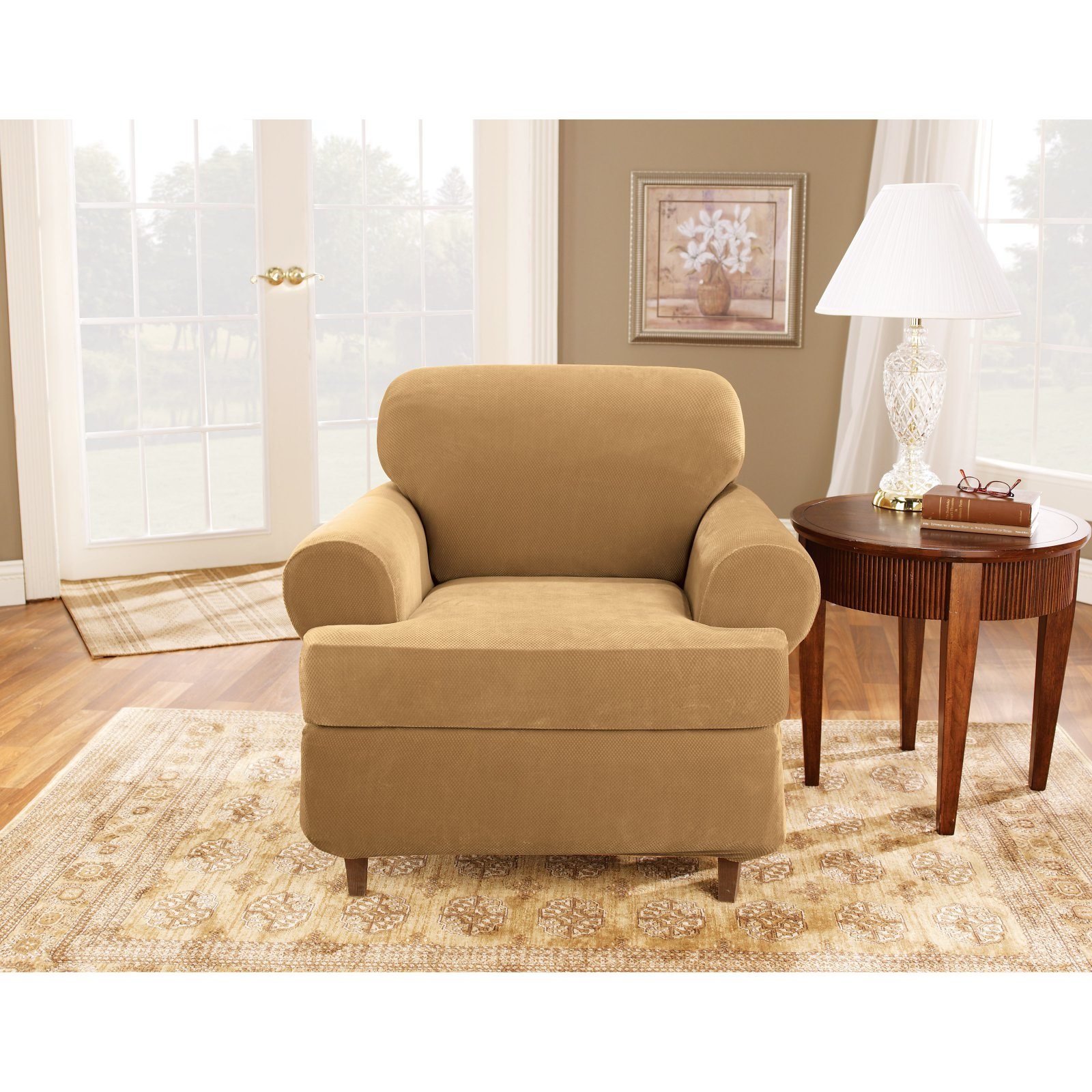 Sure Fit Stretch Pique T-Cushion Three Piece Chair Slipcover