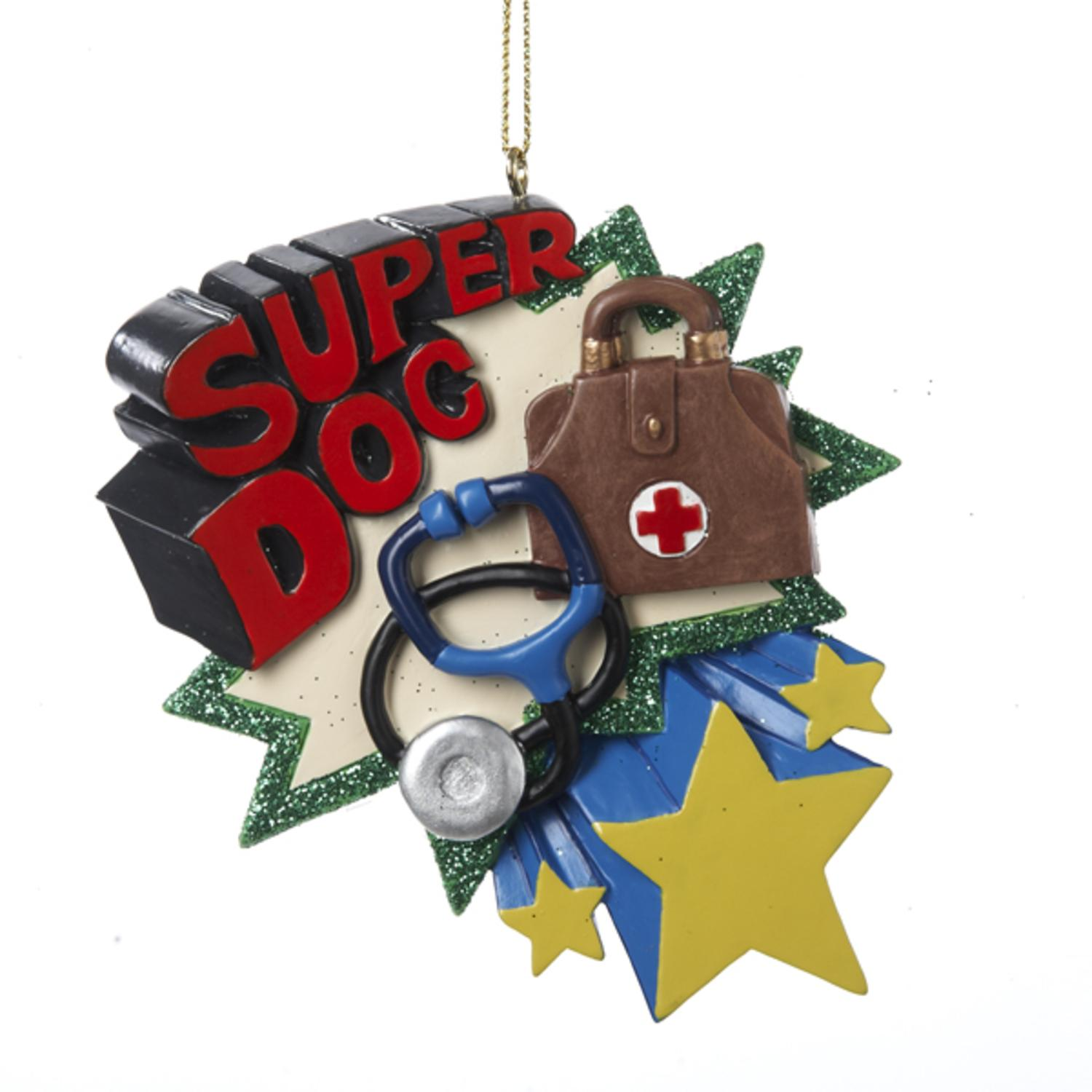 "Club Pack of 12 ""Super Doc"" Medical Doctor Holiday Christmas Ornaments 3.75"""