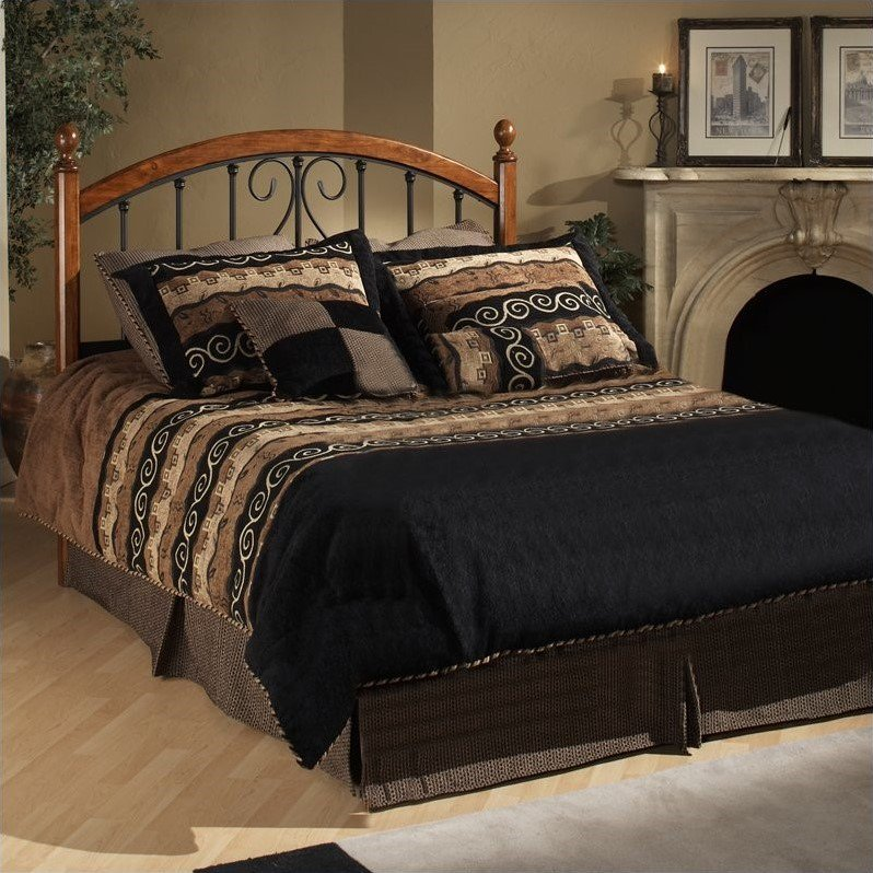 Hillsdale Burton Way Wood and Metal Poster Bed in Cherry and Black-Full Queen by Hillsdale