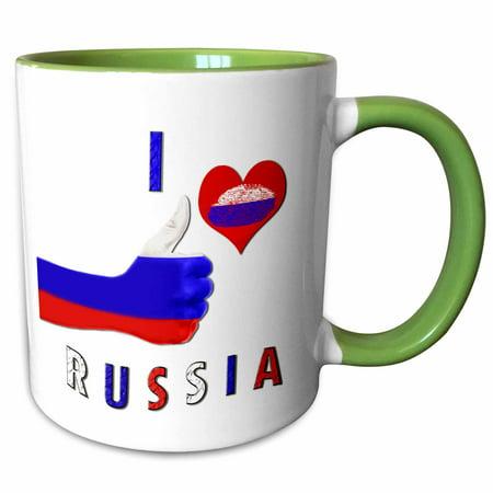3dRose I love Russia. Russian flag. Moscow. Popular saying - Two Tone Green Mug, 11-ounce - Green Sayings