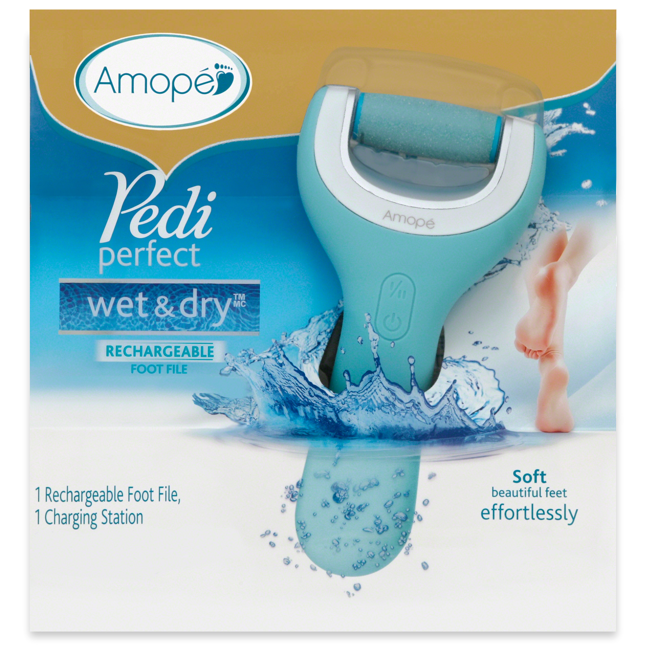 Amope Pedi Perfect Wet & Dry™ Electronic Rechargeable Foot File - Regular Coarse