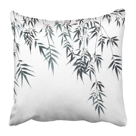 ARHOME Black Painting Chinese Traditional Distinguished Gorgeous Hand Ink Bamboo Green Tree Pillow Case Cushion Cover 16x16 (Gorgeous Chinese Antique)