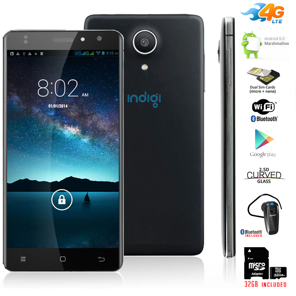 """Indigi® 4G LTE AT&T Unlocked 5.0"""" Android 6.0 Google SmartPhone + Bundle included"""