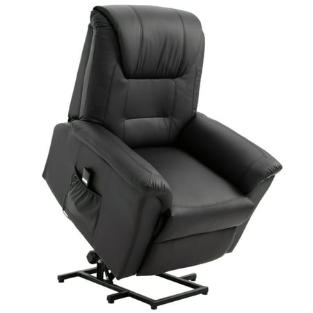 HOMCOM Faux Leather Three Position Power Lift Recliner Chair With Remote -