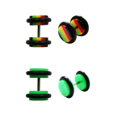 Acrylic Body Jewelry - BODY JEWELRY Steel and Green Acrylic Rasta Illusion Plug Set