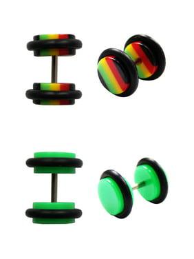BODY JEWELRY Steel and Green Acrylic Rasta Illusion Plug Set