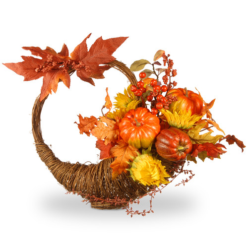 National Tree Co. Harvest Autumn Cornucopia Basket
