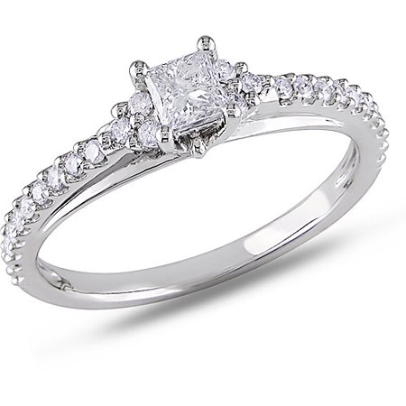1/2 Carat T.W. Princess and Round-Cut Diamond Engagement Ring in 10kt White (1 2 Carat Engagement Ring Princess Cut)