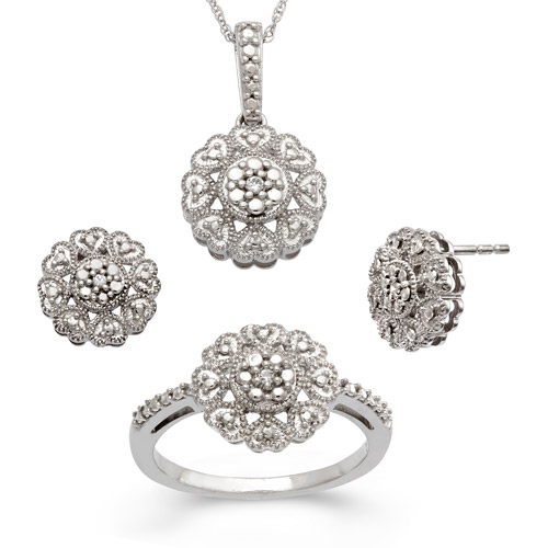 Diamond-Accent Sterling Silver Flower Pendant, Earrings and Ring Set