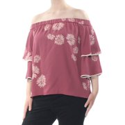 VINCE CAMUTO Womens Pink Pleated  Layered Off Shoulder Party Top  Size: XL