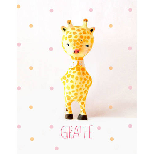 Oopsy Daisy - Paper Mache - Giraffe - Girl Canvas Wall Art 14x18, Paola Zakimi