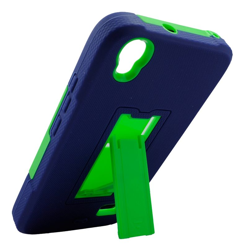Huawei Pronto phone case by Insten Symbiosis Silicone Dual Layer Rubber Hard Case w/stand For Huawei Pronto - Blue/Green - image 2 de 4