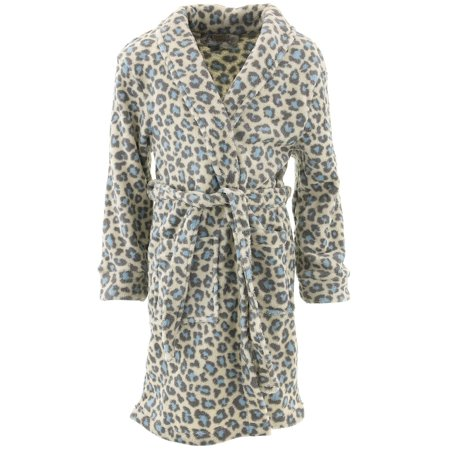 Sweet-N-Sassy Girls Leopard Ivory Fleece Bathrobe