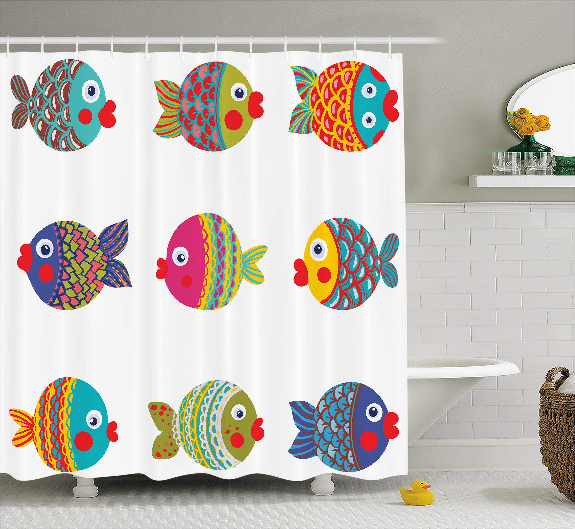 Ocean Animal Decor Shower Curtain, Boho Ethnic Featured Ornate Fish Gills Water Childish Kids Nursery Theme, Fabric Bathroom Set with Hooks, 69W X 70L Inches, Multi, by Ambesonne