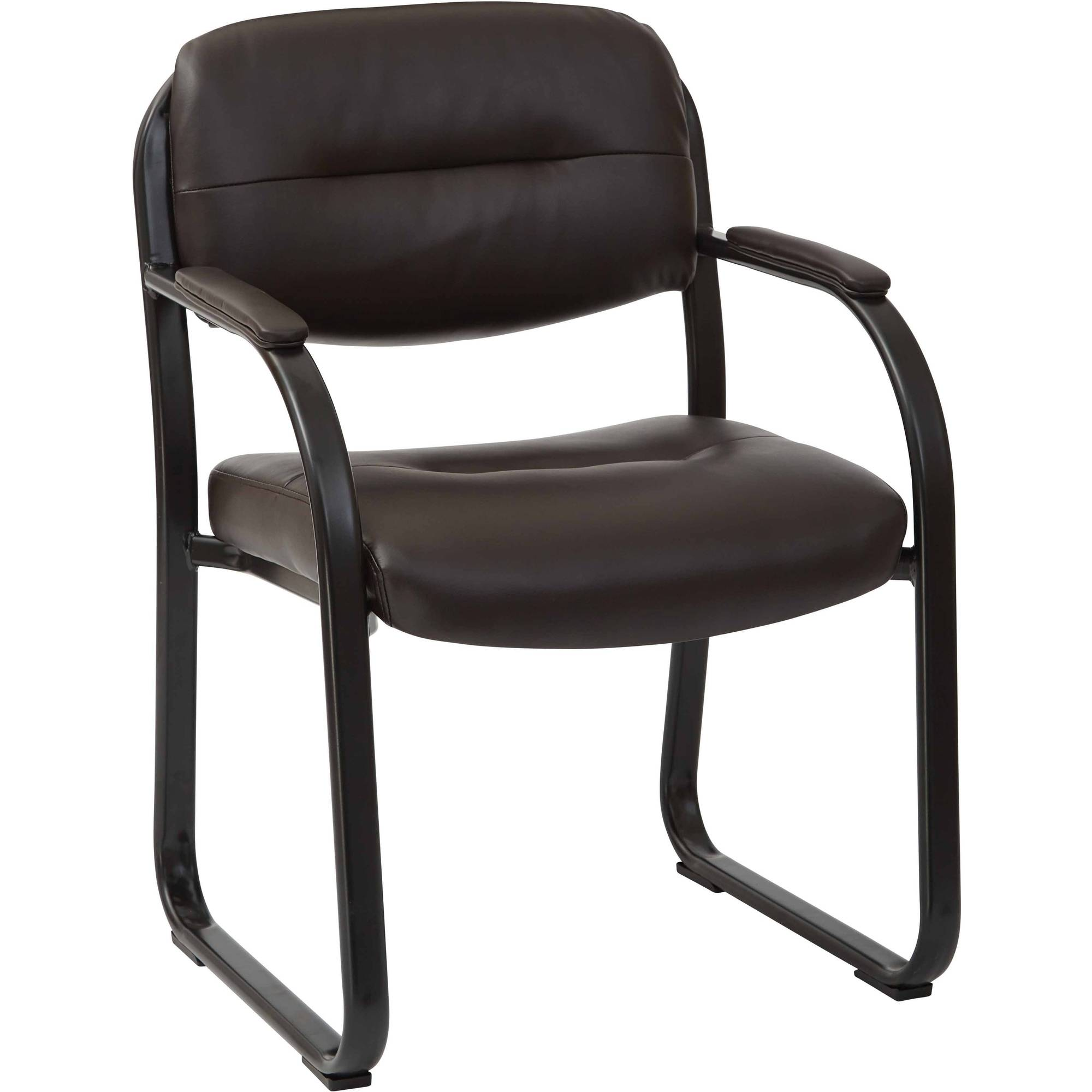 Deluxe Espresso Faux Leather Visitors Chair with Sled Base, Padded Arms and Heavy Duty Metal Sled Base