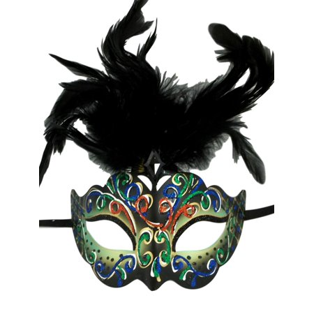 Black And Green Masquerade Mask (Light Green with Black Feathers Colorful Masquerade Mardi Gras)
