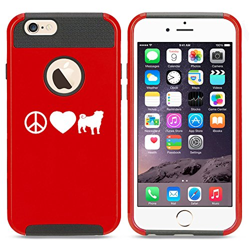 For Apple iPhone 7 Shockproof Impact Hard Soft Case Cover Peace Love Pug (Red)