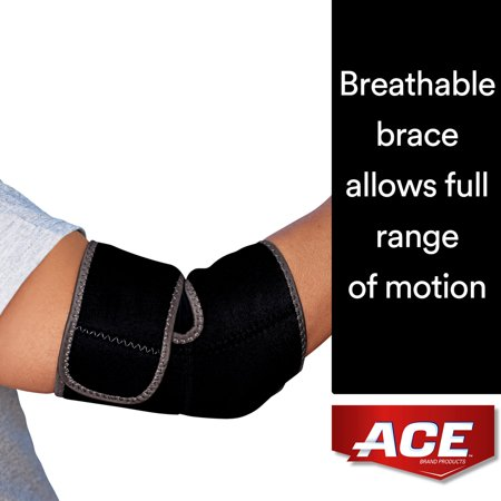 ACE Brand Neoprene Elbow Support, Breathable, Adjustable, One Size Fits All, Black, 1/Pack