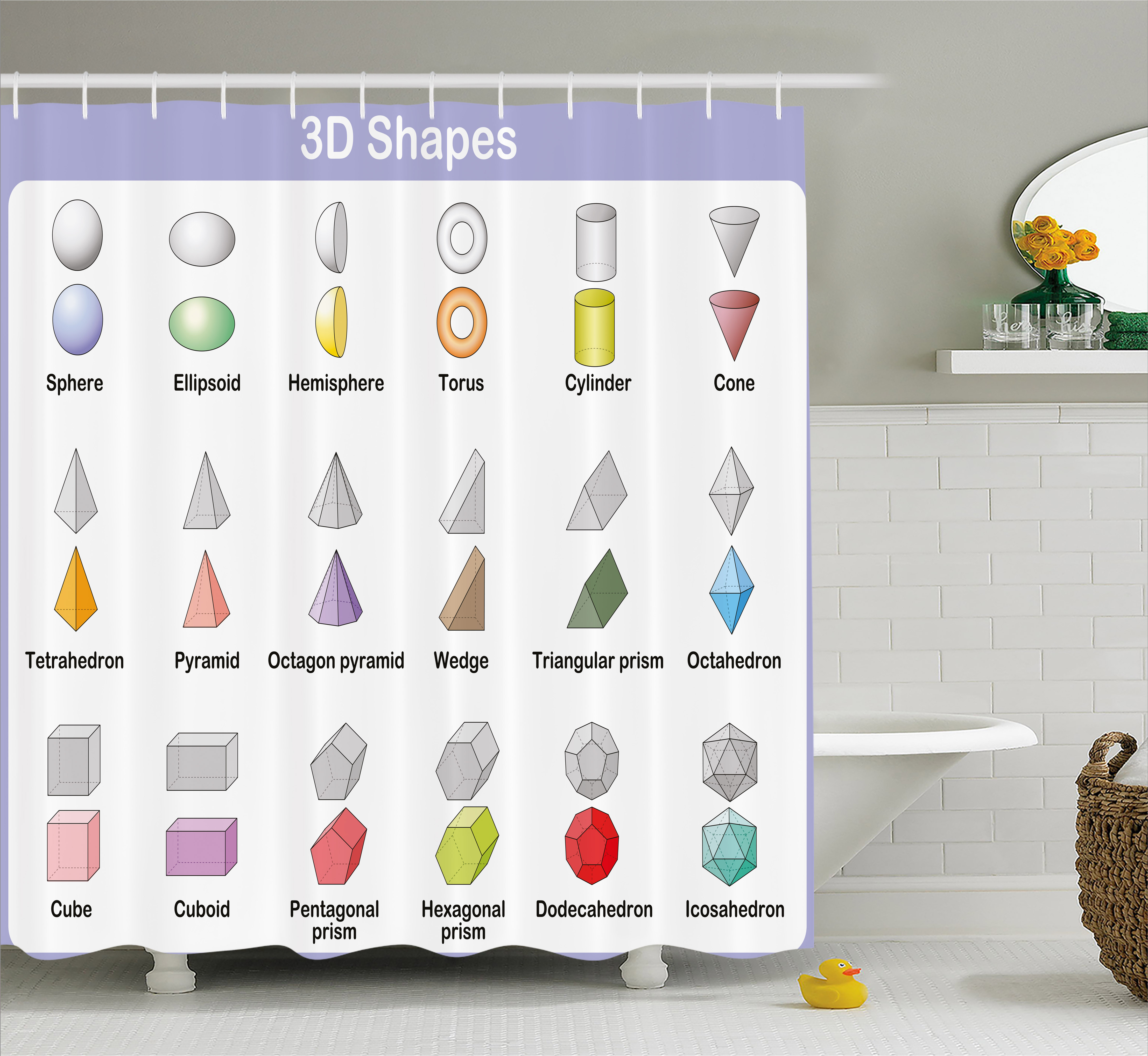 Educational Shower Curtain, Learning The 3D Shapes For