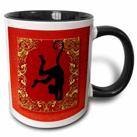 3dRose Chinese Zodiac Year of the Monkey Chinese New Year Red, Gold and Black - Two Tone Black Mug, 11-ounce - Monkey Chinese New Year