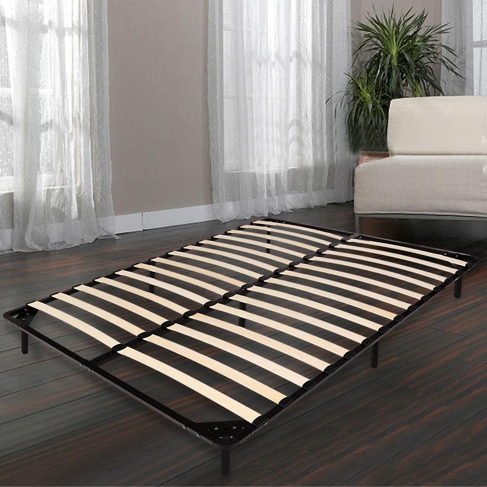 2 persons king size wood metal bed frame slats platform bed wcye