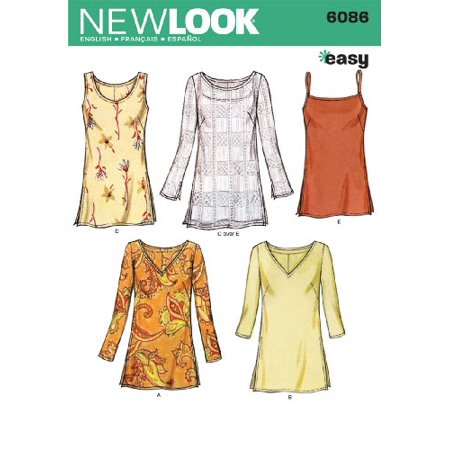 New Look Sewing Pattern 6086 Misses Tops, Size A (10-12-14-16-18-20 ...