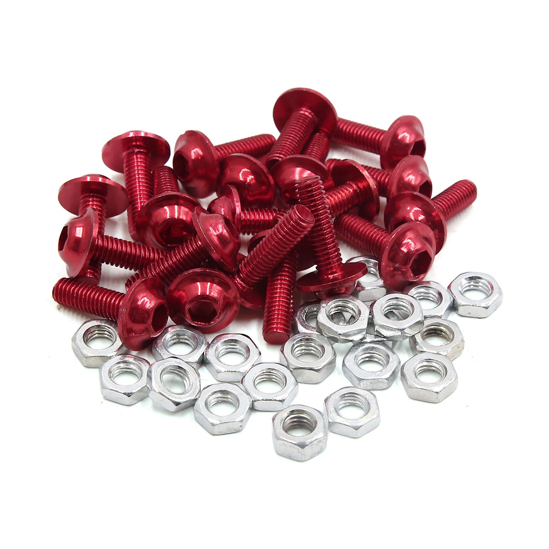 20pcs M6 Red Aluminum Alloy Hex Socket Head Motorcycle Fairing Bolts Screws Nuts