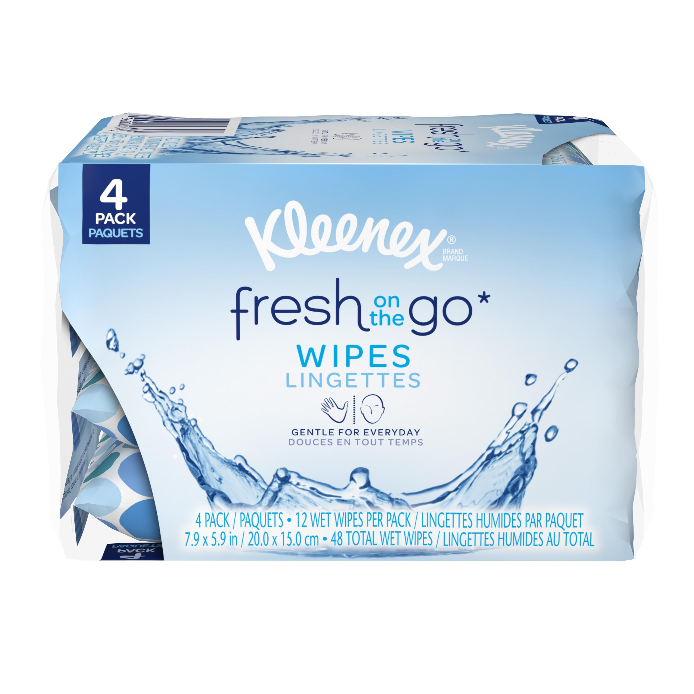 Kleenex On-The-Go Wet Wipes, White, Pocket Pack, 12 Wipes, 4 Ct by Kleenex