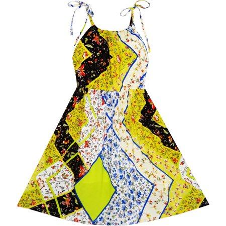 Sunny Fashion Girls Dress Spaghetti Strap Midi Mosaic Flower Beach Party Size 7 14