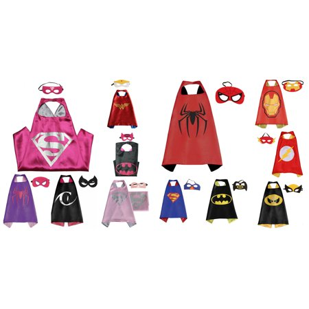 12 Set Superheroes  Costumes - Capes and Masks with Gift Box by Superheroes - Batman Cape And Mask For Adults