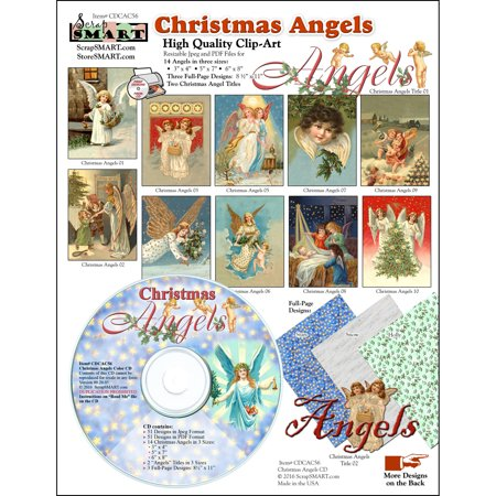 ScrapSMART Christmas Angels Clip-Art CD-ROM, Vintage Images for Scrapbook, Craft, Sewing