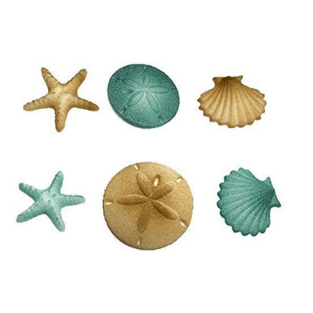 12pk Beach Sea Shell Star Fish Comber (Teal) Cake Cupcake Sugar Decoration Toppers