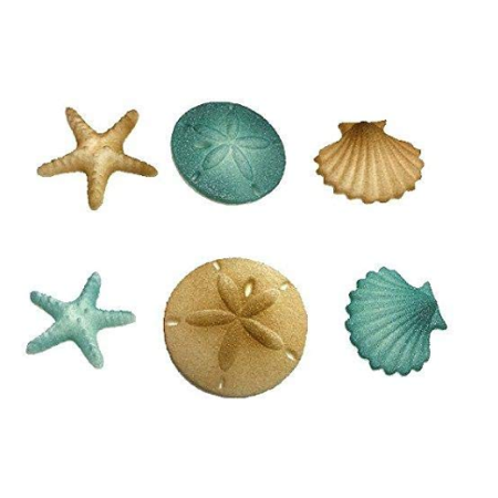 12pk Beach Sea Shell Star Fish Comber (Teal) Cake Cupcake Sugar Decoration Toppers](Beach Cake Topper)