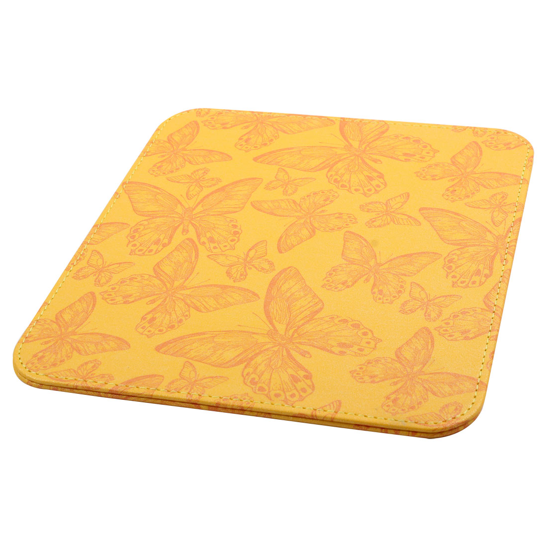 PC PU Leather Butterfly Pattern Water Resistance Mat Gaming Mouse Pad Yellow