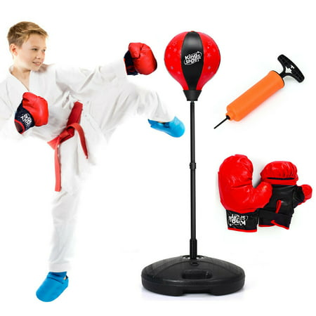 Kids Punching Bag Toy Set Adjustable Stand Boxing Glove Speed Ball w/ Pump New