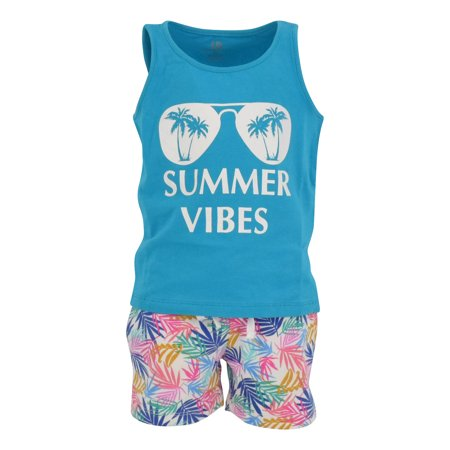 Boys 2 Piece Palm Leaf Print Tank Top and Pull On Shorts Outfit (12m)