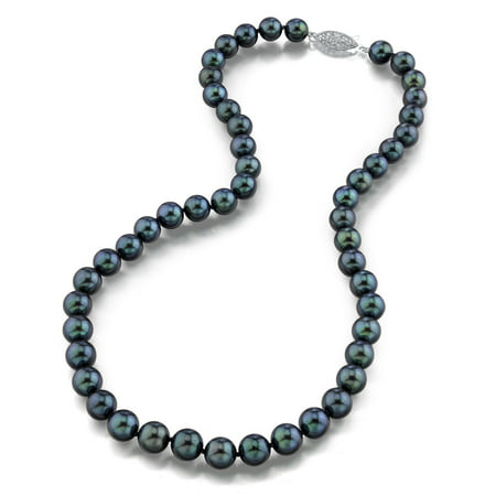 "14K Gold 7.0-7.5mm Black Akoya Cultured Pearl Necklace - AAA Quality, 16"" Choker Length"