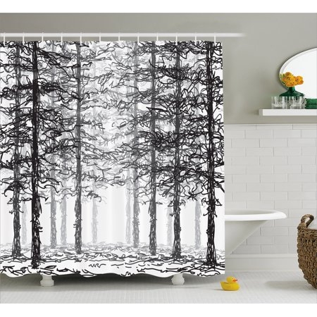 - Forest Shower Curtain, Monochrome Nature Sketch Abstract Scribble Style Tall Trees Timberland Grove, Fabric Bathroom Set with Hooks, 69W X 70L Inches, Black Grey White, by Ambesonne