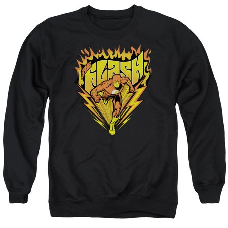 DC Comics Flash Blazing Speed Flaming Logo Adult Crewneck Sweatshirt (Flames Adult Sweatshirt)