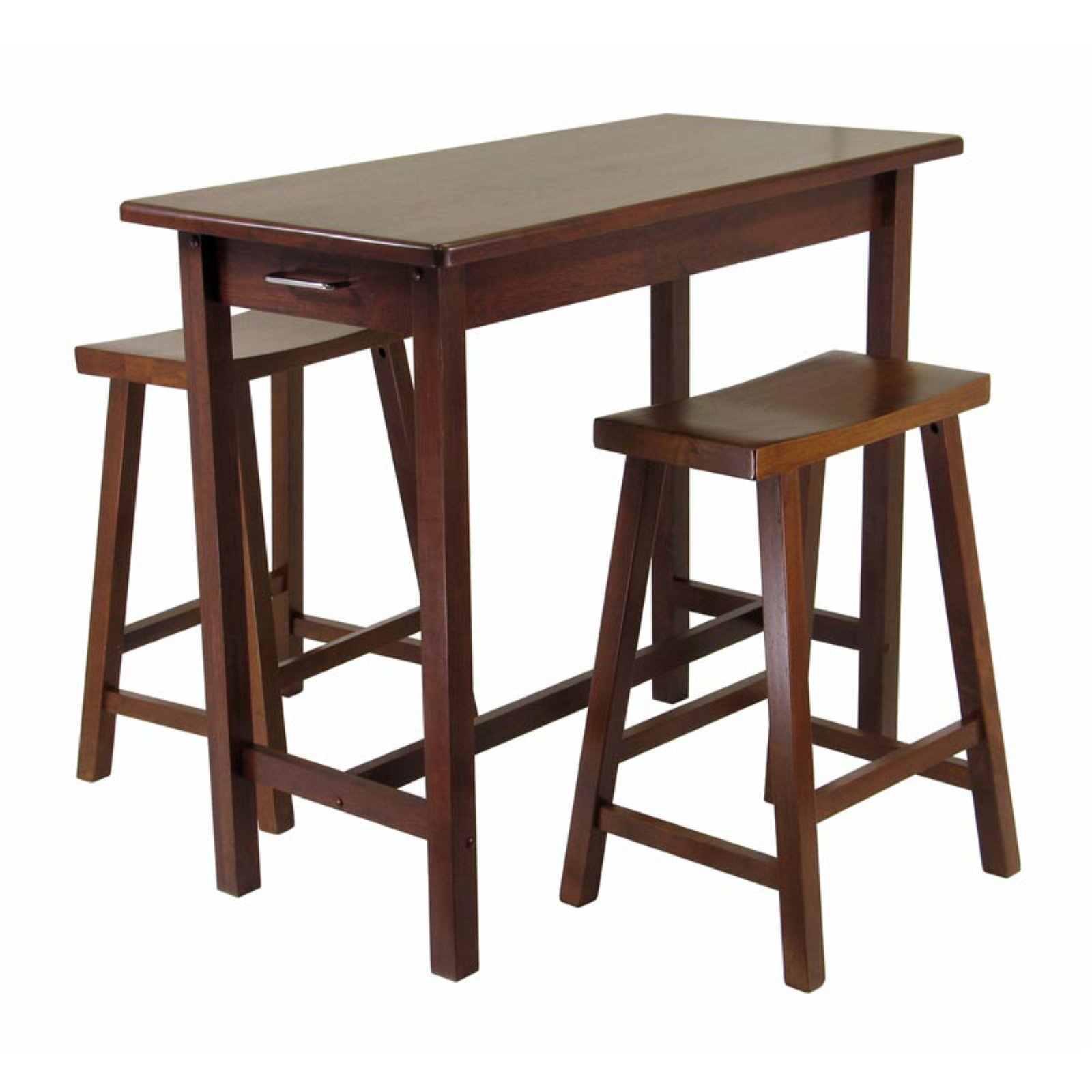 Sally 3-Pc Breakfast Table Set with 2 Saddle Seat Stools