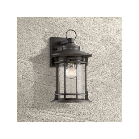 """Franklin Iron Works Outdoor Wall Light Fixture Dark Bronze Lantern 13 3/4"""" Clear Seedy Glass for Exterior House Porch Patio"""