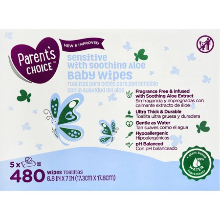 Parents Choice Sensitive Baby Wipes  5 Packs Of 96  480 Count