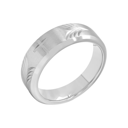 Men's 8MM Stainless Steel Tapered Cross Wedding Band – Mens Ring](Wedding Unity Cross)